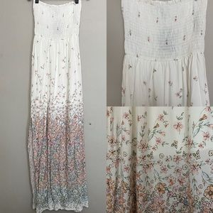Forever 21 White Pink Floral Strapless Maxi Dress